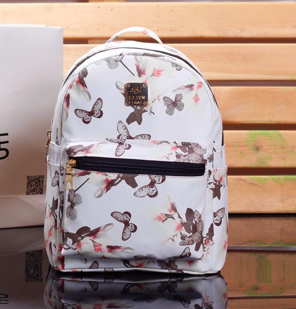 Рюкзак женский кожзам Цветочный принт Белый