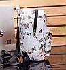 Рюкзак женский кожзам Цветочный принт Белый, фото 3