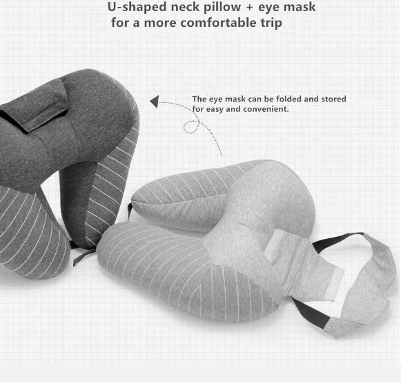 Подушка под шею с маской для глаз
