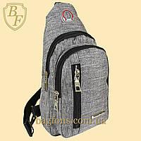 Мужская стильная сумка барсетка через плечо тканевая светло-серая.