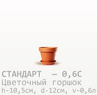Горшок керамический для цветов Стандарт 10,5*12*0,6 литра