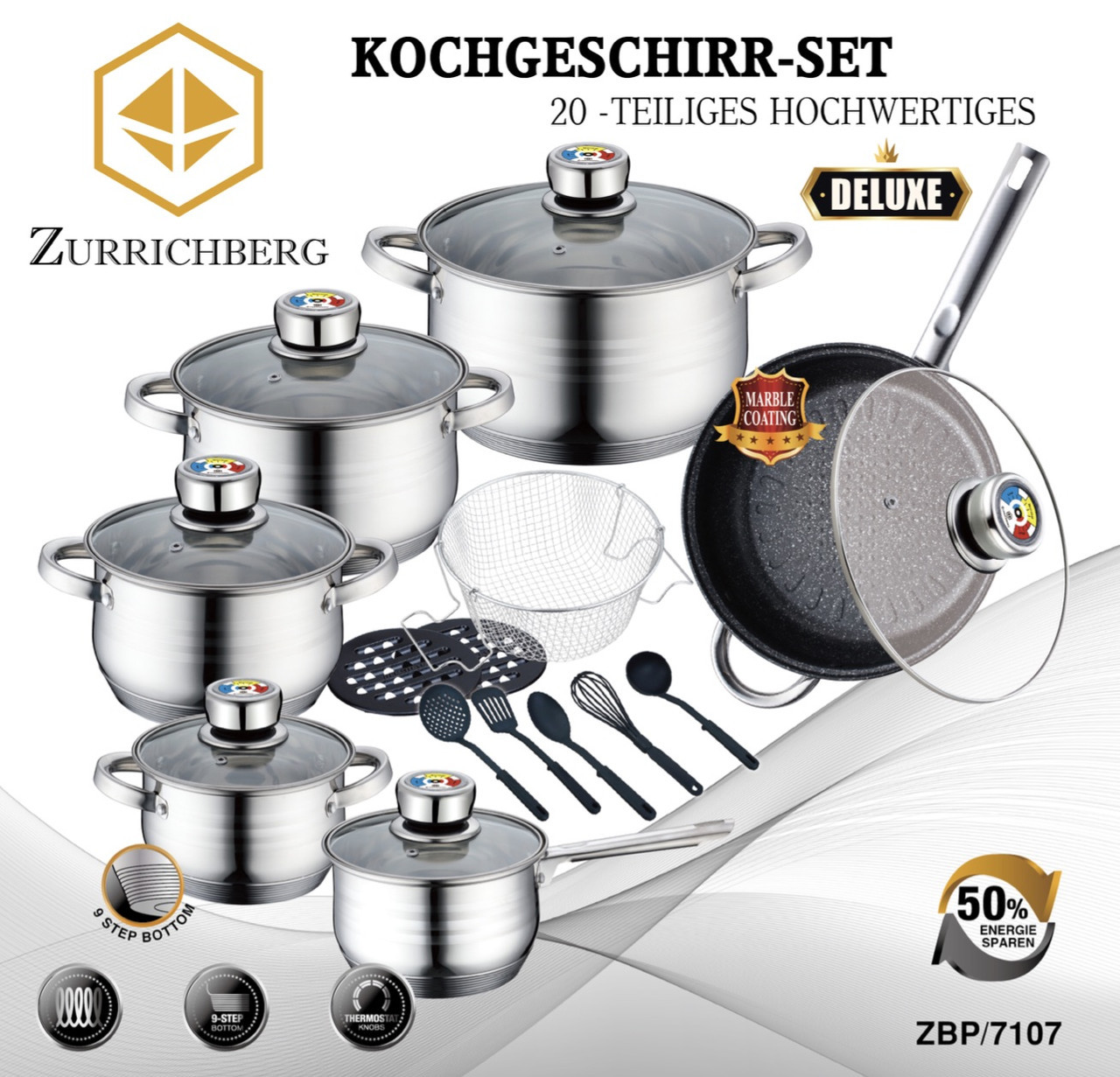 Посуда набор Zurrichberg из 20 предметов в наборе сковорода с мраморным покрытием ZBP 7107