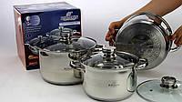 Кухонный набор посуды с матовой полировкой для дома Bohmann BH-06-375 нержавеющая сталь