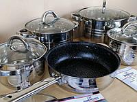 Посуда большой комплект BOHMANN BH-1243 кухонный набор посуды кастрюль 12 предметов, фото 1