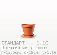 Горшок керамический для цветов Стандарт 12,5*15*1,1 литра