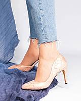 Туфли женские с вырезом пудра, фото 1
