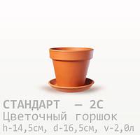 Горшок керамический для цветов Стандарт  14,5*16,5*2,0 литра