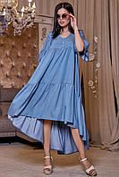 Летнее платье с оборкой из стрейч–коттона 1160 (42–52р) в расцветках, фото 1