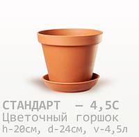 Горшок керамический для цветов Стандарт  20*24*4,5 литра