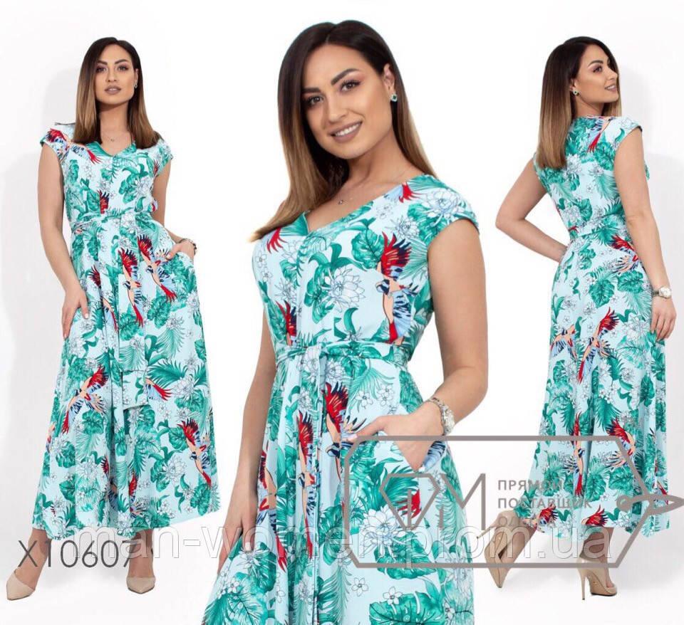 Платье-сарафан с цветочным принтом в пол из ткани креп-жоржет - Размер: 48.50.52.54 (РОЗНИЦА +30грн)