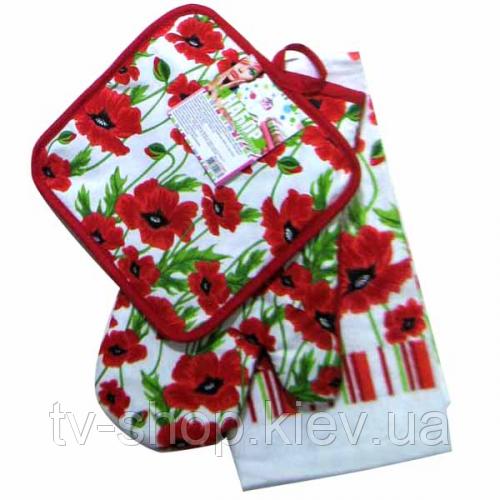 Набор кухонного текстиля 3пр. Красный мак