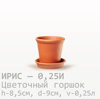 Горшок керамический для цветов Ирис 8,5*9*0,25 литра