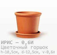 Горшок керамический для цветов Ирис 10,5*12,5*0,6 литра