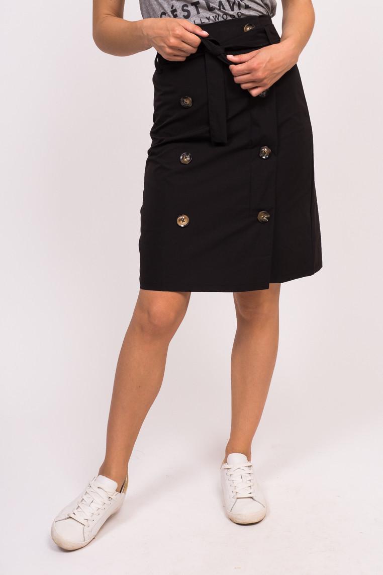 Юбка с декоративными пуговицами LUREX - черный цвет, M (есть размеры)