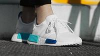 "Кроссовки Adidas NMD R1 ""White/Blue Glow"", фото 1"