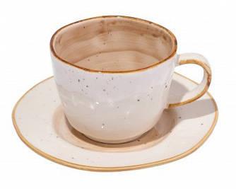 Чашка с блюдцем - 250 мл, Белая / Коричневая (ALT Porcelain) Country