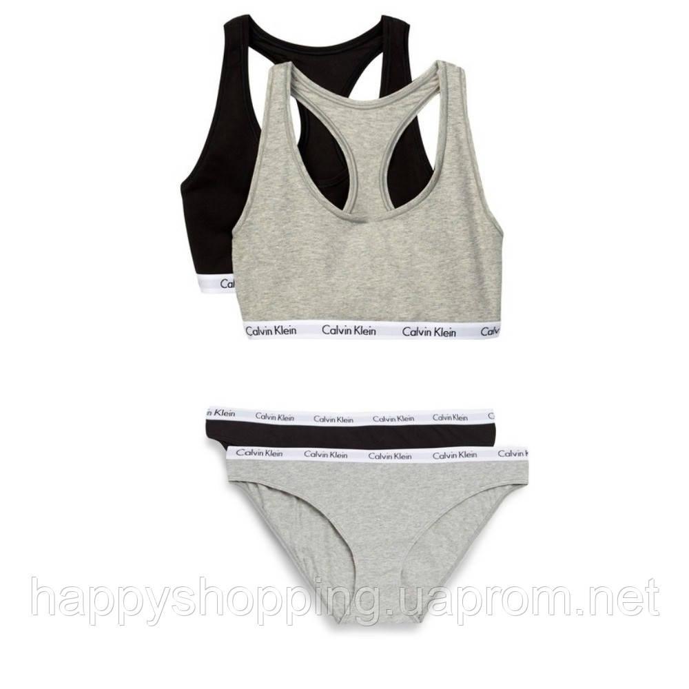 Женский оригинальный комплект нижнего белья 2в1 популярного бренда Calvin Klein, фото 1