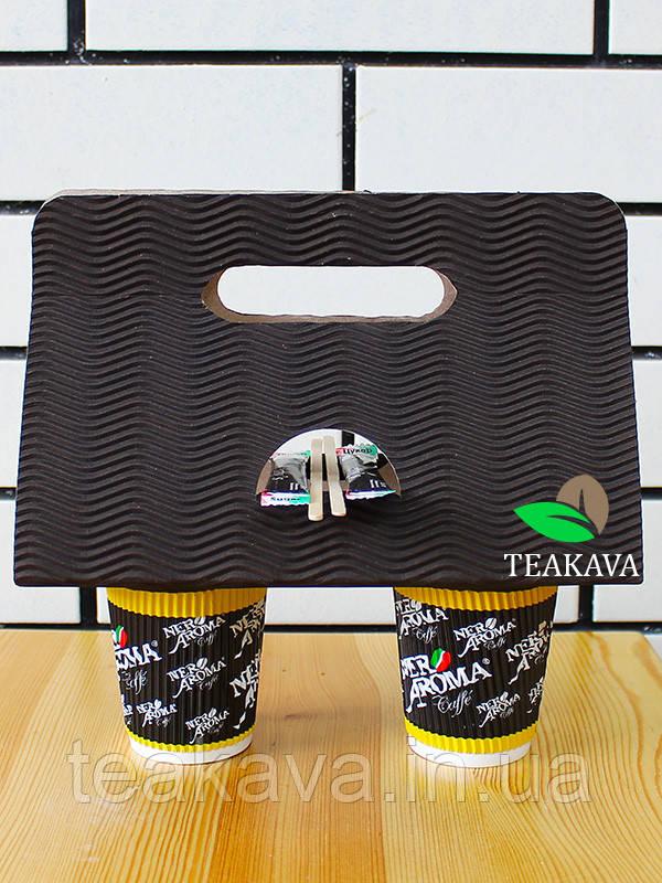 Холдер для стаканов картонный красный, чёрный (кейс, держатель), 50 шт/упаковка