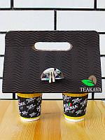 Холдер для стаканов картонный красный, чёрный (кейс, держатель), 50 шт/упаковка, фото 1