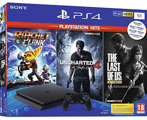 Sony PlayStation 4 Slim 1Tb Black +3 игры + Ratchet & Clank + The Last of Us + Uncharted 4. Суперцена!