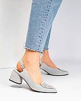 Туфли женские с заклепками серые, фото 1