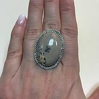 Дендритовый опал красивое овальное кольцо с дендро-опалом в серебре 17,5 размер Индия