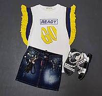 Стильная футболка на девочку с воланами на рукаве
