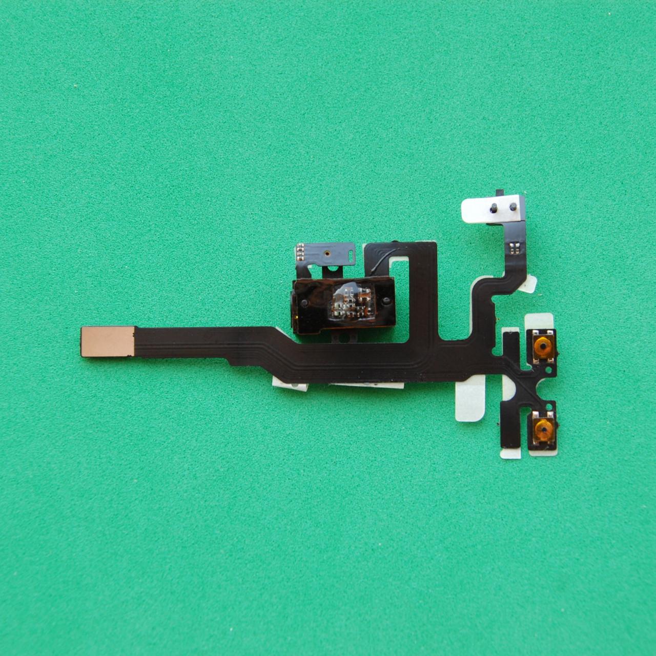 Шлейф для Apple iPhone 4S, кнопок звука, коннектора наушников, с компонентами черный