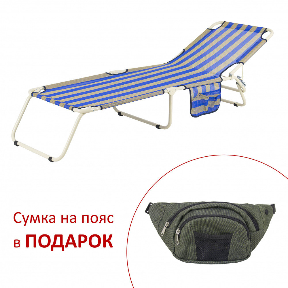 "Раскладушка Vitan ""Диагональ"" d22 мм (текстилен сине-желтая полоса)"