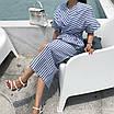 Льняное платье длины миди в полоску, фото 2