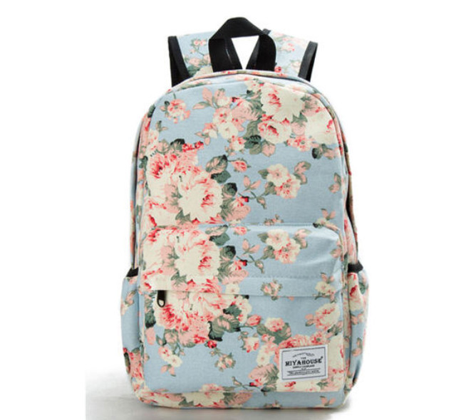 Школьный рюкзак с цветами для девочки Miyahouse голубой (AV188)