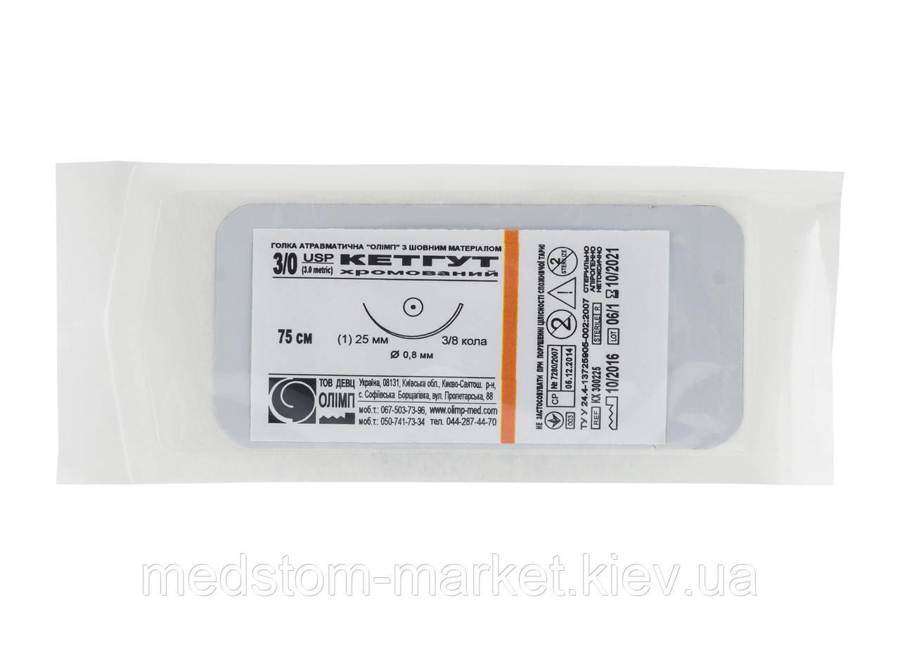 Хирургический шовный материал Кетгут хромированный 4/0, кол. (Олимп), 1 шт.