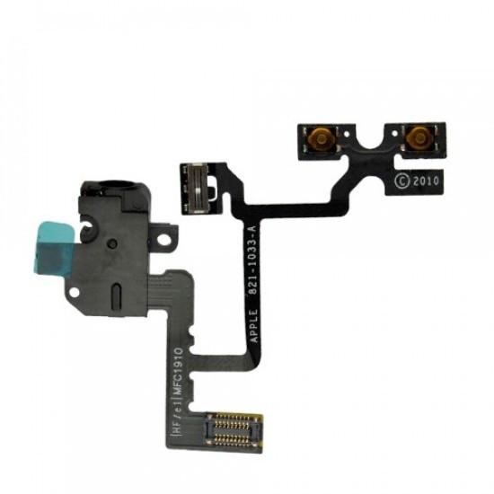 Шлейф для Apple iphone 4 кнопок звука, коннектора наушников, с компон Black