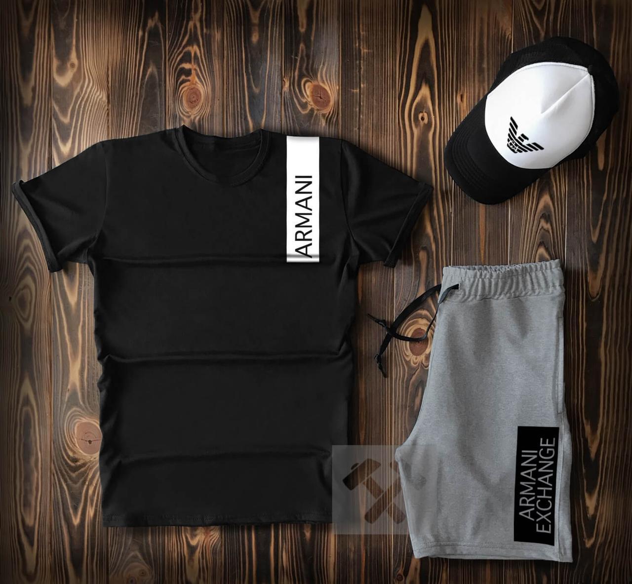 Купить Костюм 3 в 1 на лето Armani Black Grey (шорты футболка и кепка Армани черно-серый), Armani Jeans