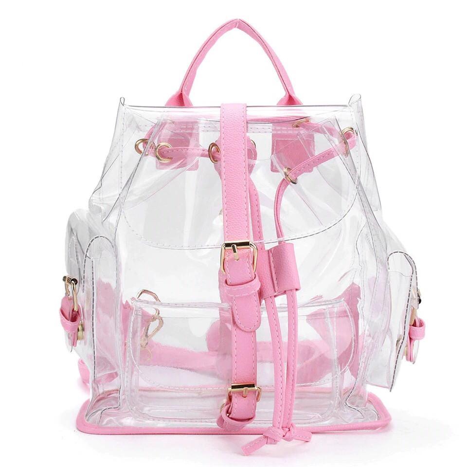 Прозрачный рюкзак в стиле grafea(графеа). Лазерный рюкзак Miyahouse розовый.(AV173)