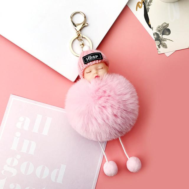 Хутряний брелок рожевий