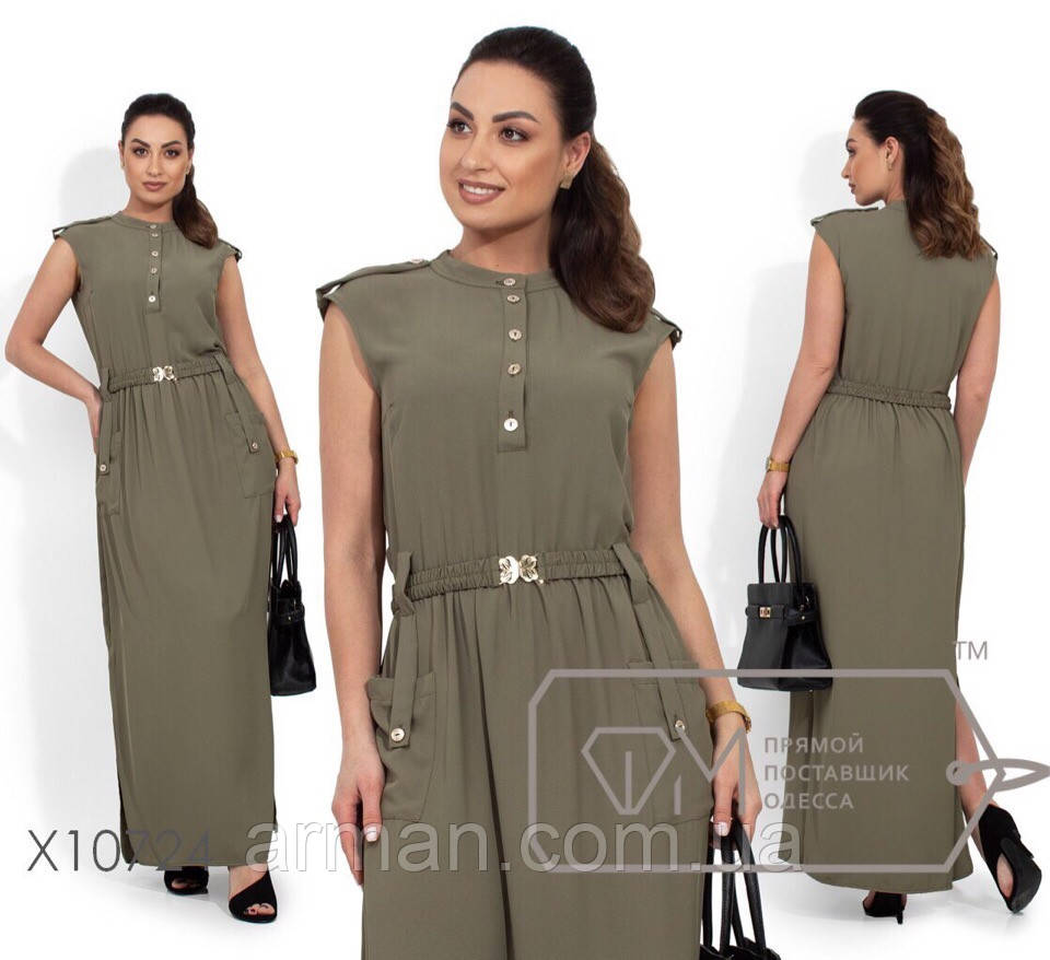 Платье-сарафан длинное декорировано пуговицами и карманами из ткани фай. Размер:50.52.54.56 (РОЗНИЦА +30грн)