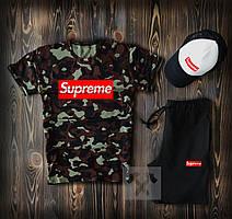 Спортивный костюм тройка Supreme Chaki (Суприм хаки) комплект шорты футболка и кепка