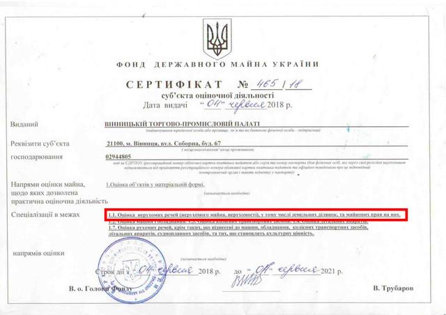 Сертифікат суб'єкта оціночної діяльності