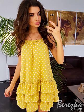 fdcaf29168e Женское летнее платье с принтом в горошек и рюшами р 42-44 - Цена ...