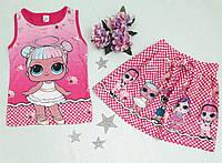 """Комплект детский """"Лол"""" юбка+майка р. 5-8 лет, малиновый, фото 1"""