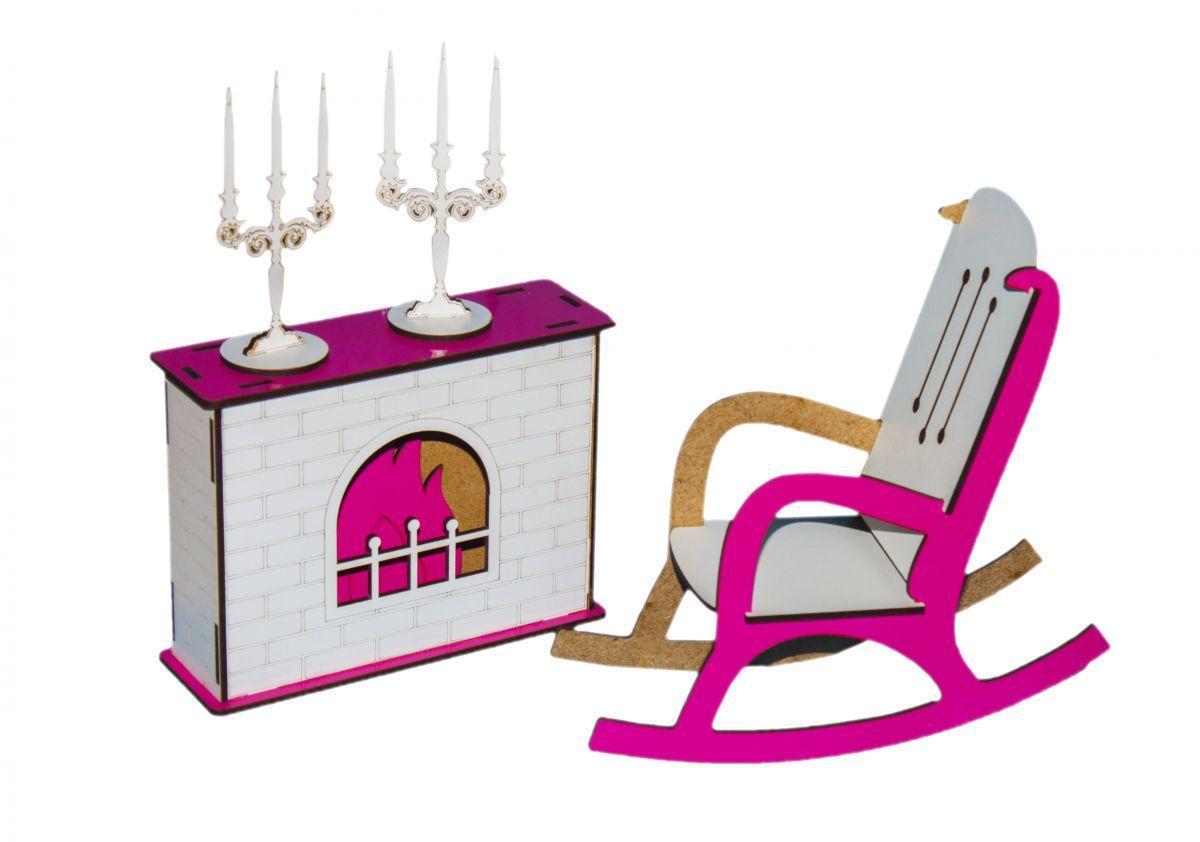 Деревянная мебель для куклы барби и кукольного домика Камин со стулом, разные увета, Украина