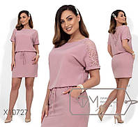 Летнее платье из ацетатного шелка, украшено кружевом с карманами. Размер:48.50.52.54 (РОЗНИЦА +30грн)
