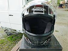 Мотошлем FXW HF-110 черный глянец с рисунком, фото 2