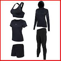 Женская компрессионная одежда для фитнеса набор 5в1 Легинсы/Лосины Топ Футболка Шорты Худи
