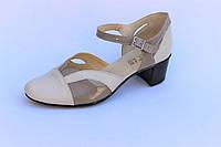 Женские кожаные босоножки с закрытой пяткой и носочком каблук 4 см