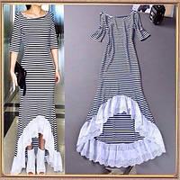 Платье макси, из полосочки с оборкой  из прошвы