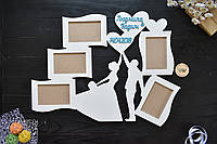 "Фоторамка из дерева ""Свадебная пара"". Фоторамка на свадьбу, свадебная фоторамка, подарок на свадьбу, на 5 фото"