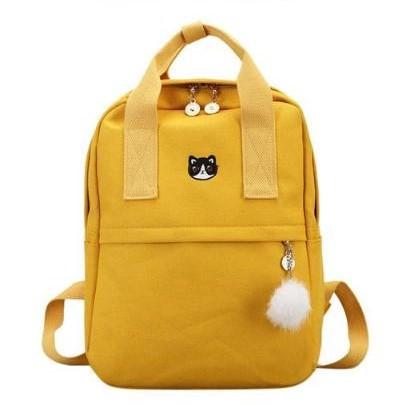 Рюкзак для дівчинки підлітка з котом і помпоном Mochila жовтий (AV168)