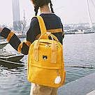 Рюкзак для дівчинки підлітка з котом і помпоном Mochila жовтий (AV168), фото 2